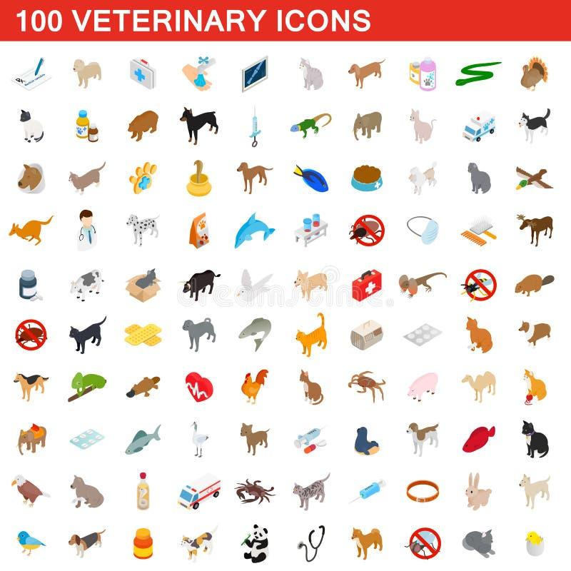 100 ícones veterinários ajustados, estilo 3d isométrico ilustração do vetor
