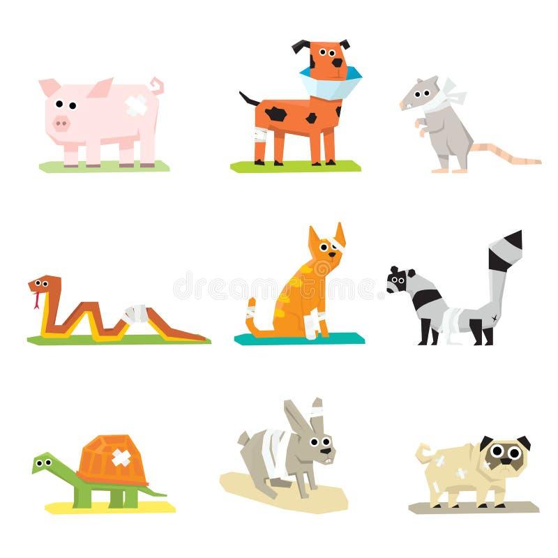 Ícones veterinários da medicina animal dos cuidados médicos do animal de estimação ilustração royalty free