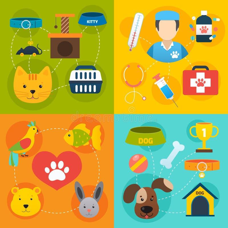 Ícones veterinários plano ajustado ilustração royalty free