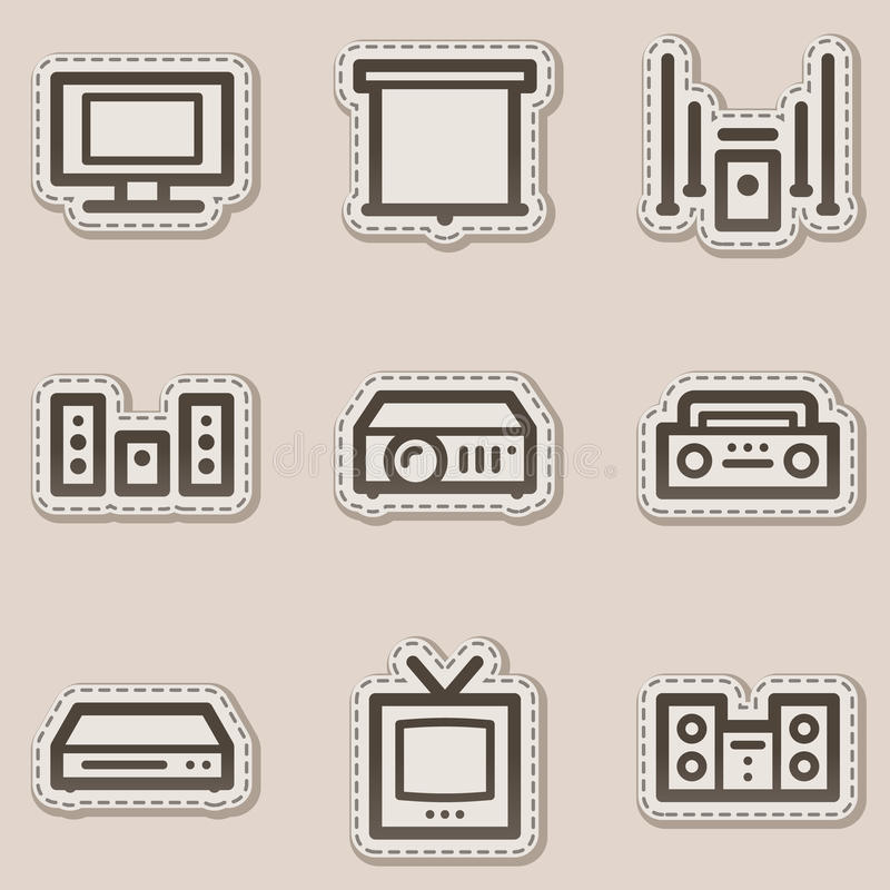 Ícones video audio do Web, etiqueta marrom do contorno ilustração stock