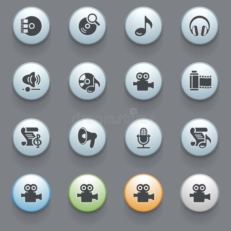 Ícones video audio no fundo cinzento. ilustração royalty free