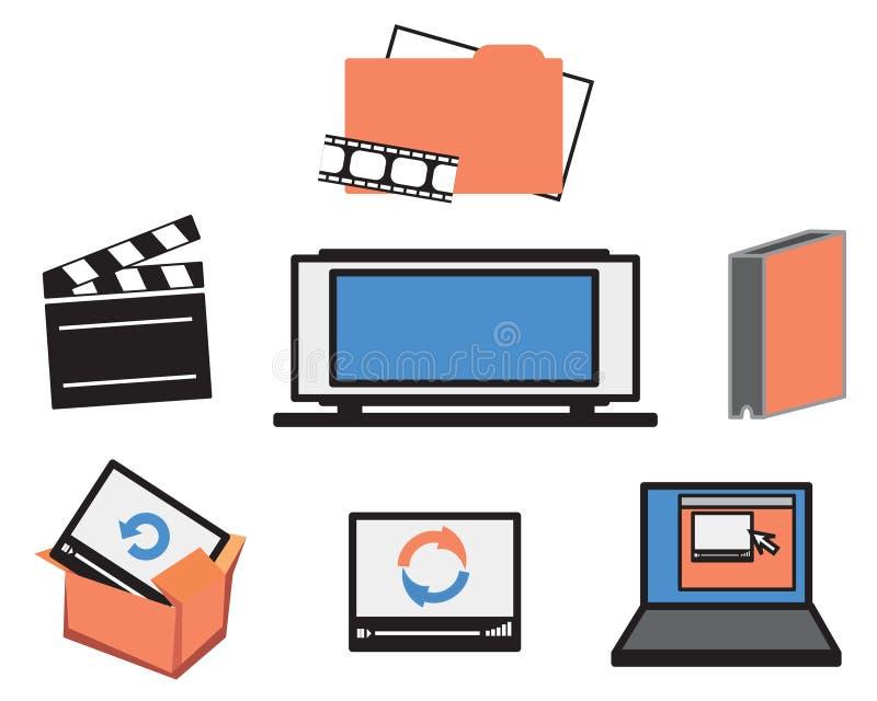 Ícones video dos meios fotografia de stock