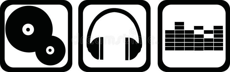 Ícones vinil do DJ, fones de ouvido, equalizador ilustração do vetor