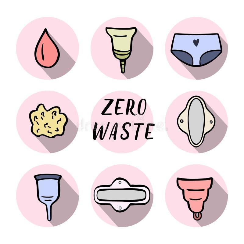 Ícones zero da higiene das mulheres do desperdício Ilustração desenhada mão do vetor ilustração do vetor