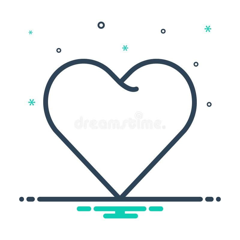 ícono de mezcla para Corazón, amor y afecto stock de ilustración