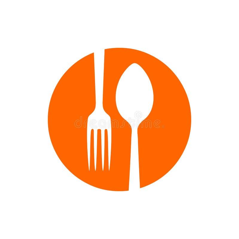 Ícono del círculo del restaurante Spork Negative Spoon Fork stock de ilustración