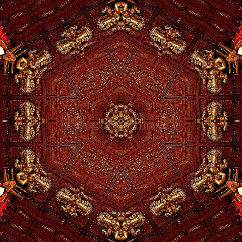 Ídolo dourado do ganpati abstrato do molde do projeto da mandala imagem de stock royalty free