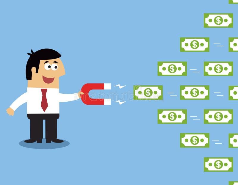 Ímã do dinheiro do empregado ilustração do vetor