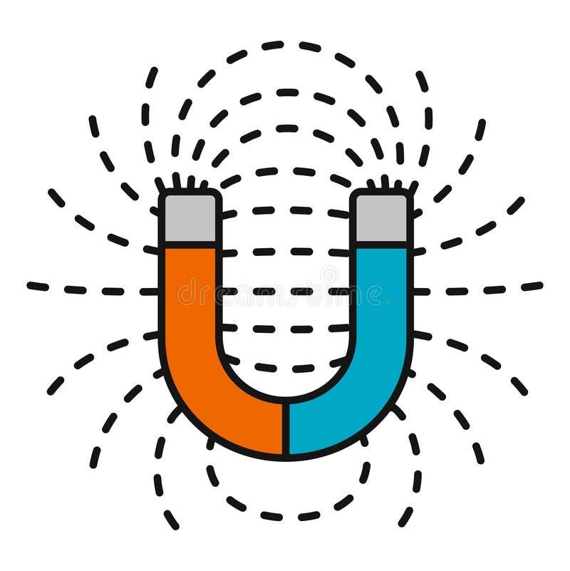 Ímã em ferradura com campo magnèticos ilustração do vetor