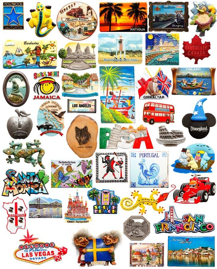 Ímãs do refrigerador do curso do mundo imagens de stock