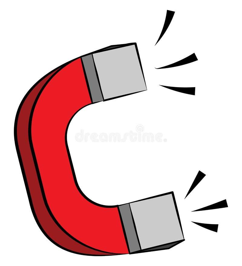 Íman em forma de ferradura com vetor de campo magnético ou ilustração de cor ilustração stock