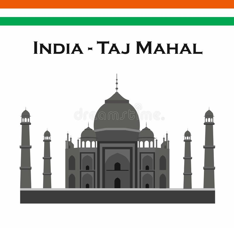 Índia Agra, curso, marco Arquitetura mahal da cultura de Taj Patrim?nio mundial do Unesco Mausoléu - palácio do marfim ilustração royalty free