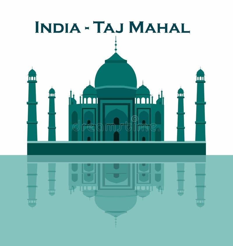 Índia Agra, curso, marco Arquitetura mahal da cultura de Taj Patrim?nio mundial do Unesco mausoleum ilustração do vetor