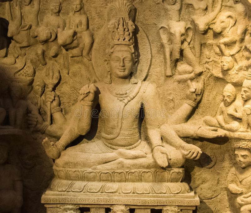 Índia antiga da escultura da caverna fotos de stock royalty free