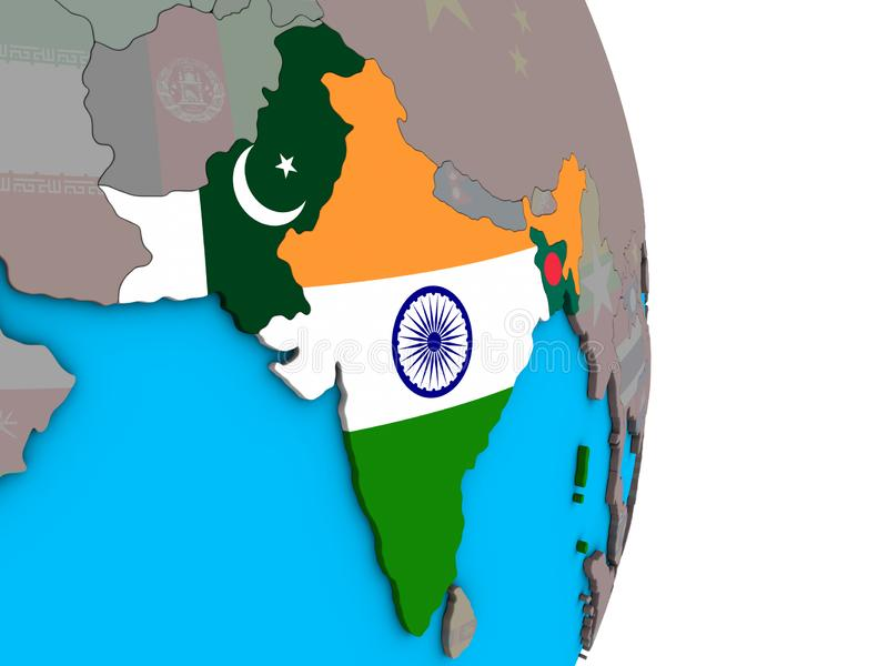 Índia britânica com as bandeiras no globo 3D ilustração royalty free