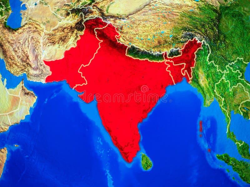 Índia britânica na terra com beiras ilustração royalty free