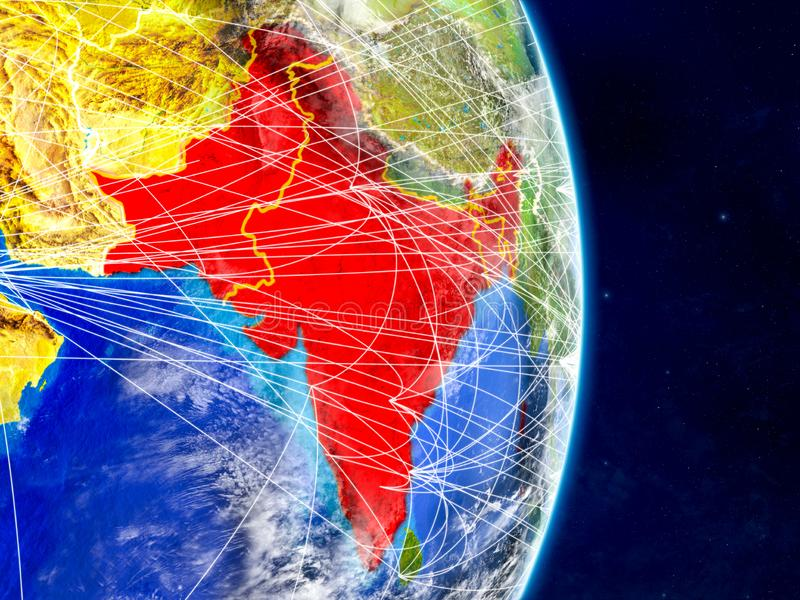 Índia britânica na terra do planeta com redes Superfície e nuvens extremamente detalhadas do planeta ilustração 3D Elementos dest ilustração royalty free