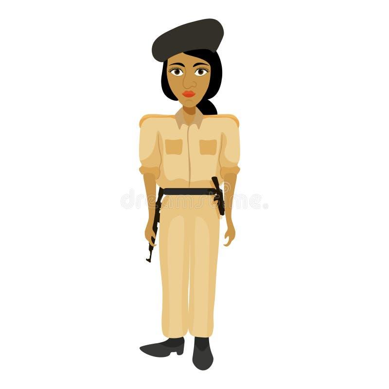 A Índia comanda a mulher, menina do polícia Ilustração do vetor ilustração royalty free