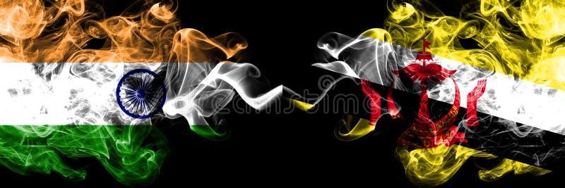 Índia contra Brunei Darussalam, bandeiras Bruneian do fumo colocadas de lado a lado Bandeiras de seda coloridas grossas do fumo  foto de stock