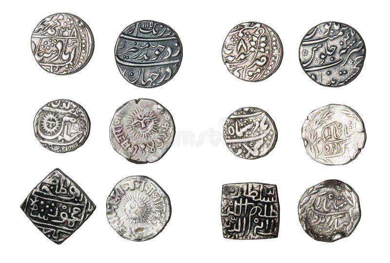 Índia das moedas de prata imagens de stock