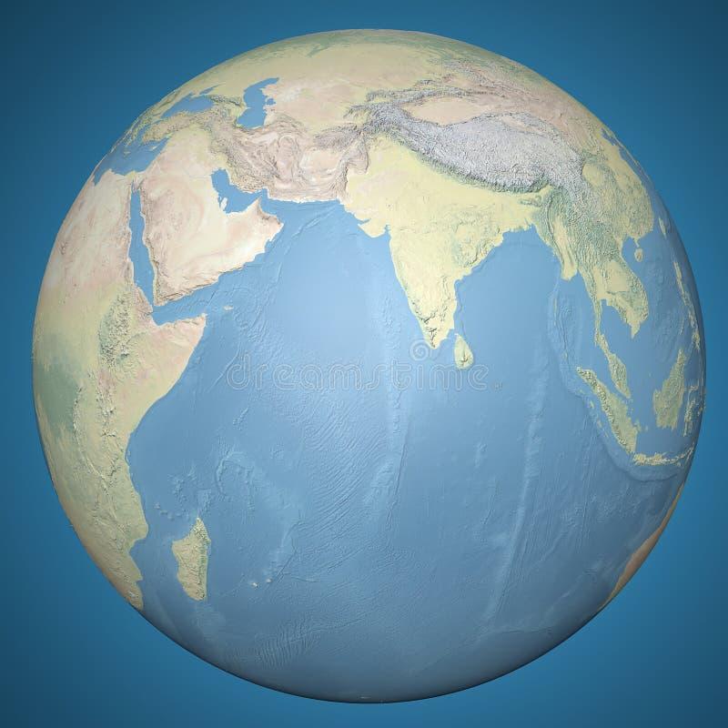 Índia de Ásia do globo da terra do mundo, mapa de relevo ilustração stock
