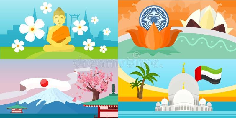Índia, emirados, cartazes do curso de Tailândia, Japão ilustração do vetor