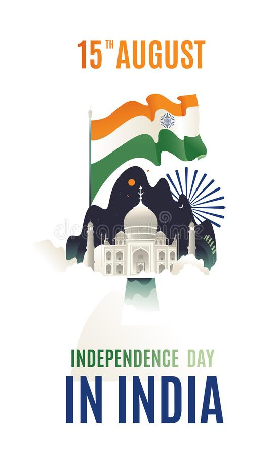 Índia feliz isolada moderna lisa do Dia da Independência do projeto, ilustração do vetor, projeto do inseto para o vetor da bande imagens de stock