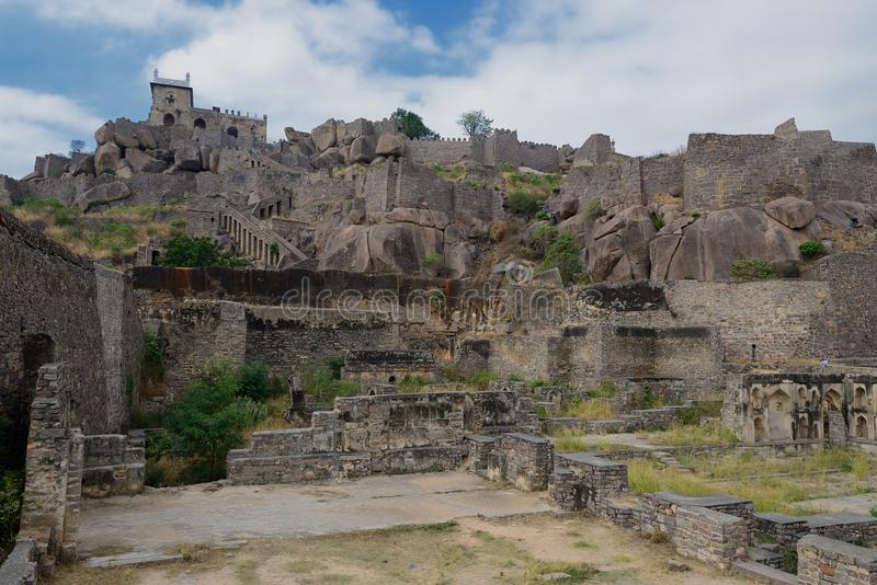 Índia, Forte Golconda em Hyderabad fotografia de stock