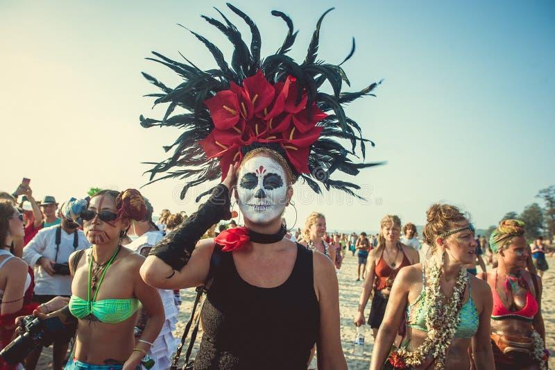 Índia, Goa - 21 de fevereiro de 2017: Carnaval arrepiante anual em Arambol fotografia de stock royalty free