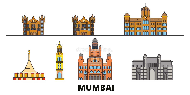 Índia, ilustração lisa do vetor dos marcos de Mumbai 2 Índia, linha cidade com vistas famosas do curso, skyline de Mumbai 2, proj ilustração do vetor