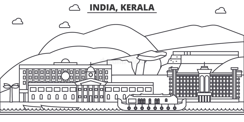Índia, linha ilustração da arquitetura de Kerala da skyline Arquitetura da cidade linear com marcos famosos, vistas do vetor da c ilustração do vetor