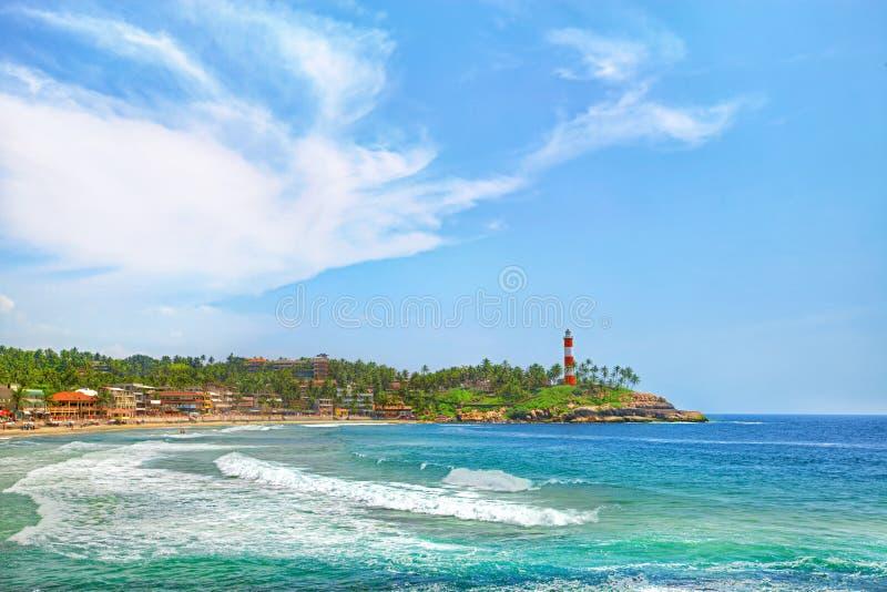 Índia, praia de Kovalam, Kerala imagens de stock