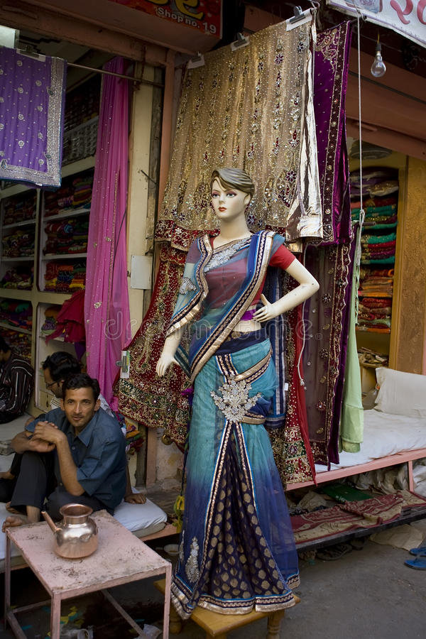 Índia, Rajasthan, Jaipur, o 2 de março de 2013: Wom tradicional indiano foto de stock