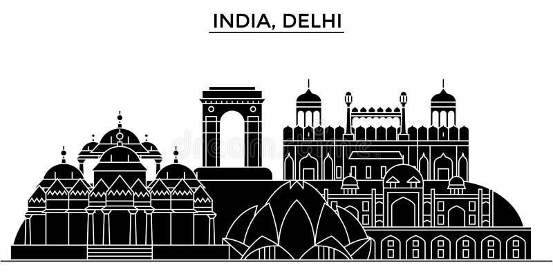 Índia, skyline urbana da arquitetura de Deli com marcos ilustração do vetor