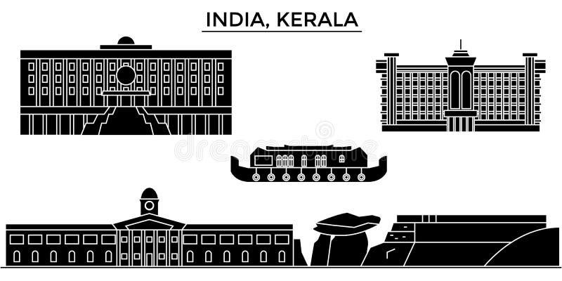 Índia, skyline urbana da arquitetura de Kerala ilustração royalty free
