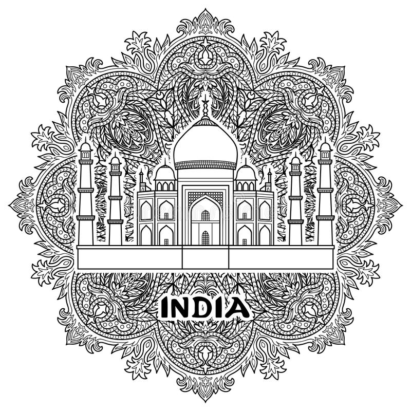 Índia Taj Mahal ilustração stock