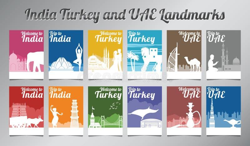 Índia Turquia e marco famoso e símbolo dos UAE no projeto da silhueta com multi grupo do folheto do estilo da cor ilustração royalty free