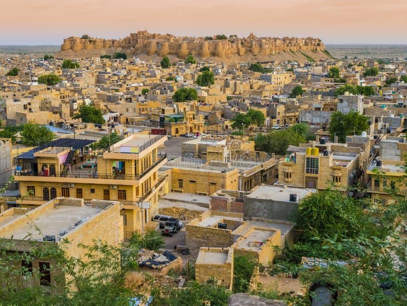 Índia, vista panorâmica do forte de Jaisalmer, a cidade dourada fotos de stock royalty free