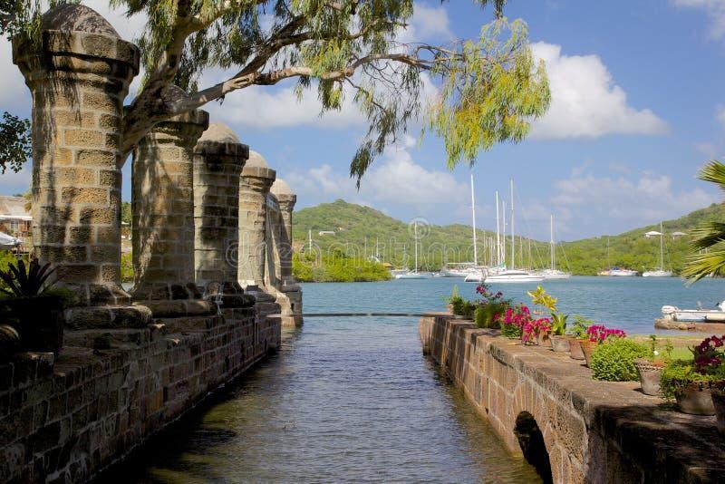Índias Ocidentais, Caraíbas, Antígua, estaleiro de Nelson, casa do barco e sótão da vela fotos de stock