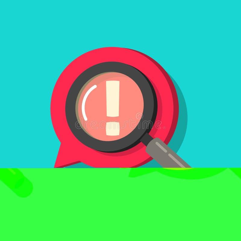 Índice censurado que identifica o ícone do vetor, o sinal liso da exclamação dos desenhos animados e o vidro da lente de aumento, ilustração royalty free
