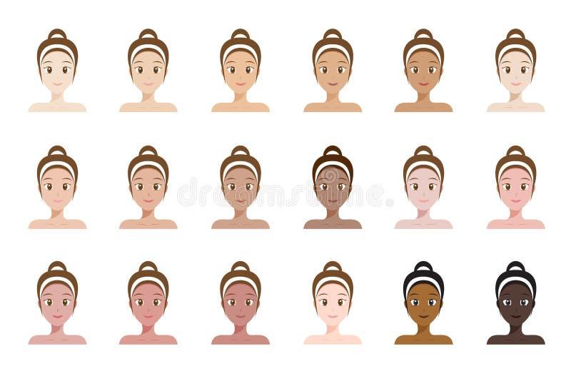 Índice de color de tono de piel cara de mujeres stock de ilustración