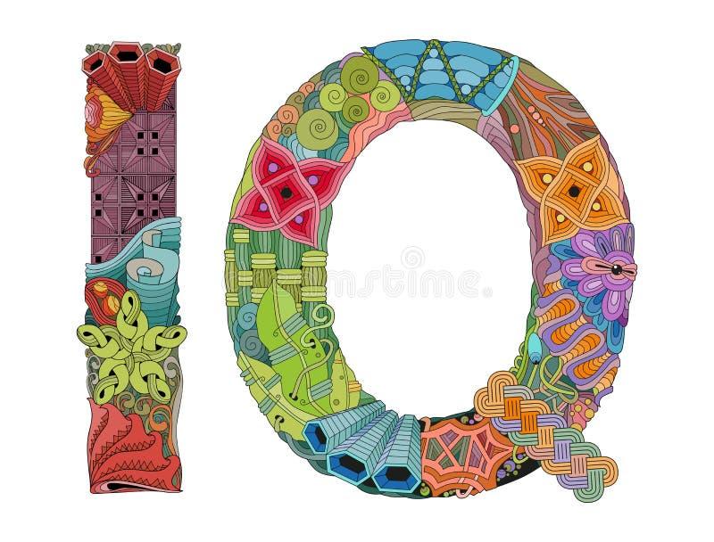 Índice de inteligencia de la abreviatura Objeto decorativo del zentangle del vector para la decoración ilustración del vector