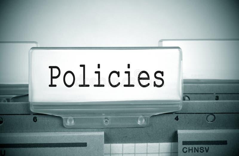 Índice de la carpeta del registro de las políticas fotografía de archivo libre de regalías