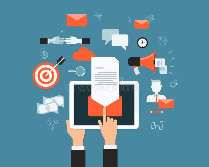 Índice do mercado do email do negócio no fundo móvel ilustração stock