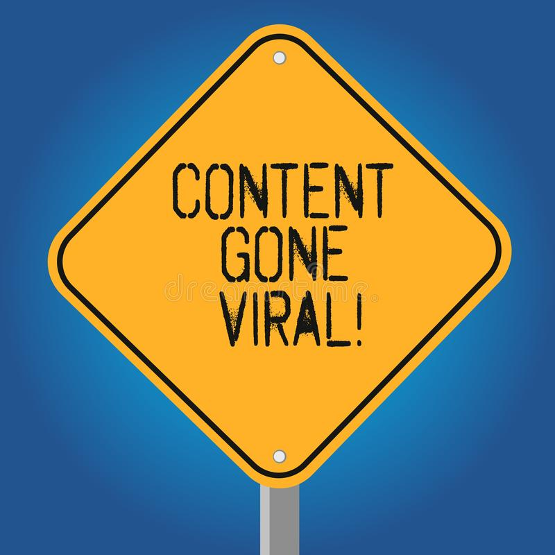 Índice do texto da escrita ido viral Relação video da imagem do significado do conceito que espalha rapidamente através da placa  ilustração stock
