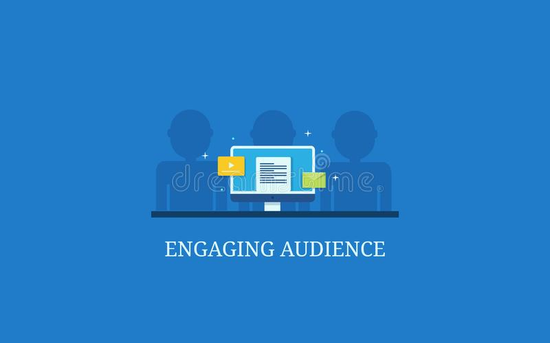 Índice do texto, vídeo em linha, exibição personalizada do e-mail no tela de computador para o acoplamento da audiência ilustração do vetor