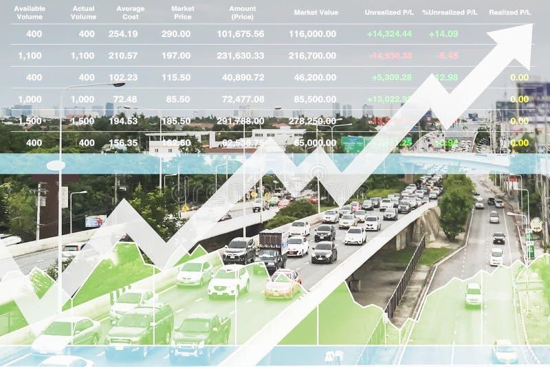 Índice financiero común de la inversión acertada en negocio del transporte imágenes de archivo libres de regalías