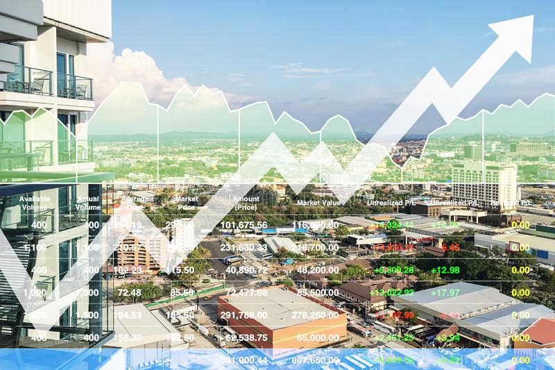 Índice financiero común de la inversión acertada en negocio y sector de la construcción de las propiedades inmobiliarias de la pr imagenes de archivo