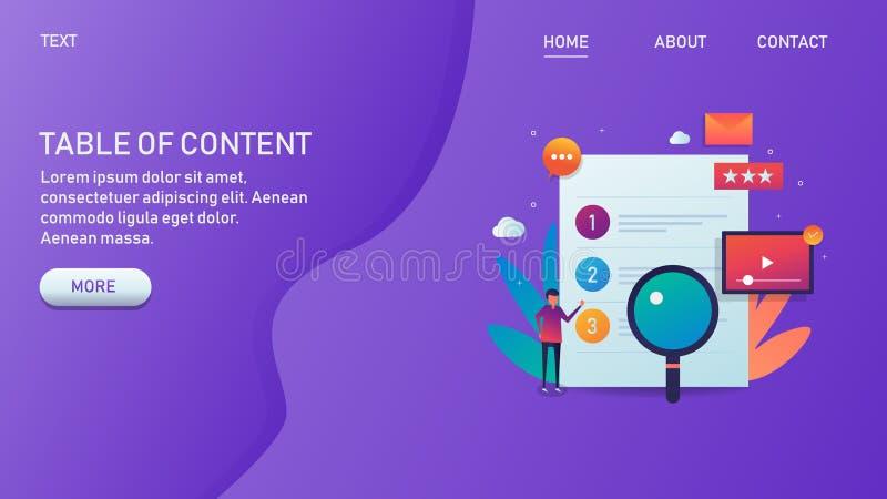 Índice, la investigación contenta, la creación, el márketing y la publicación, contenido del formato, bandera de la web stock de ilustración
