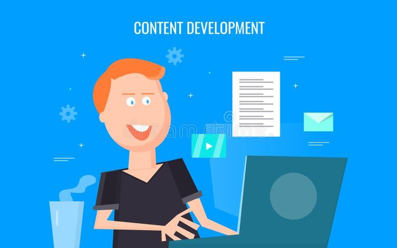 Índice tornando-se do escritor satisfeito para o Web site, blogue, motores da busca, meios sociais, mercado digital Bandeira lisa ilustração royalty free